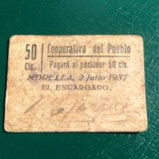 Billetes locales: COOPERATIVA DEL PUEBLO MORELLA 1937. 50CTS CASTELLÓN. Lote 180263638