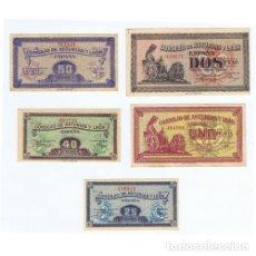 Billetes locales: COLECCION 5 BILLETES 25 40 50 CENTIMOS Y 1 2 PESETAS ASTURIAS Y LEON 1936 EBC MBC. Lote 180920255