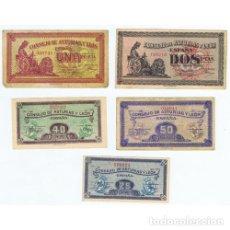 Billetes locales: COLECCION 5 BILLETES 25 40 50 CENTIMOS Y 1 2 PESETAS ASTURIAS Y LEON 1936 MBC. Lote 180920370