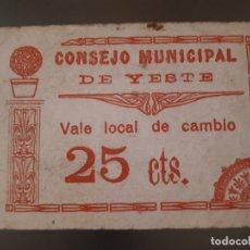 Billetes locales: BILLETE DE YESTE - 25 CÉNTIMOS . Lote 181439455