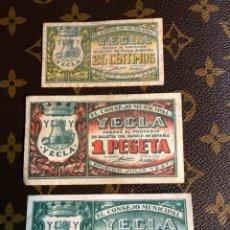 Billetes locales: CONSEJO MUNICIPAL DE YECLA MURCIA 1/50/25PESETA. Lote 182642413