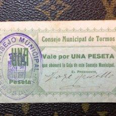 Billetes locales: CONSEJO MUNICIPAL DE TORMOS ALICANTE. Lote 182709940