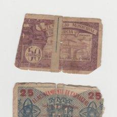 Billetes locales: BILLETES LOCALES-CONSEJO MUNICIPAL DE MURCIA-50 CENTIMOS-AYUNTAMIENTO DE CARTAGENA-25 CENTIMOS. Lote 182712635