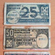 Billetes locales: 3 BILLETES CONSEJO MUNICIPAL DE MANZANARES 25 Y 50 CÉNTIMOS 1 PESETA - GUERRA CIVIL. Lote 182864293