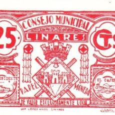 Billetes locales: BILLETE: 25 CENTIMOS LINARES ( JAEN ) / EBC +. Lote 182993113
