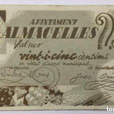 Billetes locales: BILLETE AYUNTAMIENTO DE ALMACELLES 25 CENTIMOS 1937 - EBC-/EBC. Lote 183262158