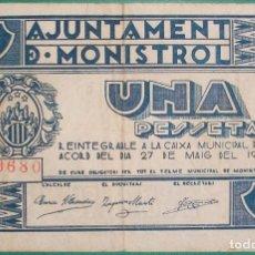 Billetes locales: CATALUÑA/CATALUNYA. 1 PESETA. AJUNTAMENT DE MONISTROL (BARCELONA). Lote 183570605