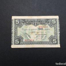 Billetes locales: BILLETE DE 5 PESETAS DE BILBAO DEL AÑO 1937.DE LA GUERRA CIVIL ESPAÑOLA.. Lote 183582873