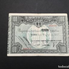 Billetes locales: BILLETE DE 100 PESETAS DE BILBAO DEL AÑO 1937.DE LA GUERRA CIVIL ESPAÑOLA.. Lote 183585162