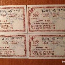 Billetes locales: 4 BILLETES CONSELL DE VILANOVA I LA GELTRU 1937. Lote 183587862