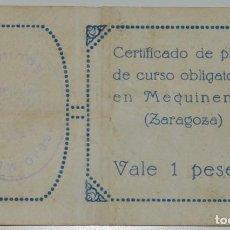 Billetes locales: MEQUINENZA VALE UNA PESETA 1937. Lote 183621073