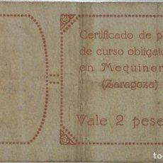Billetes locales: MEQUINENZA VALE DOS PESETAS 1937. Lote 183621315