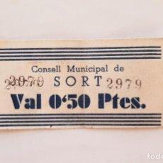 Billetes locales: F 1772 BILLETE CONSEJO MUNICIPAL DE SORT 50 CÉNTIMOS T-2786 R. Lote 184193863