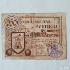 Billetes locales: F1647 BILLETE CONSEJO MUNICIPAL DE MARTORELL 50 CÉNTIMOS T-1648. Lote 184196040