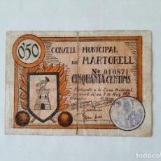 Billetes locales: F 1646 BILLETE CONSEJO MUNICIPAL DE MARTORELL 50 CÉNTIMOS T-1650. Lote 184197567