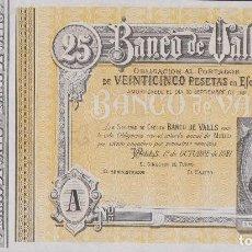 Billetes locales: BILLETES LOCALES - BANCO DE VALLS - TARRAGONA - 25 PESETAS 1-10-1921 (SC-). Lote 184508755