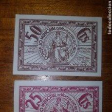 Billets locaux: 2 BILLETES LOCALES SIN CIRCULAR (PLANCHA)ORIGINALES CONSEJO MUNICIPAL MONTEALEGRE DEL CASTILLO. Lote 184524715