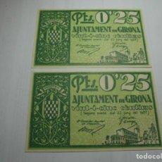 Billetes locales: MAGNIFICOS 2 BILLETES CORRELATIVOS DE AJUNTAMENT DE GIRONA DEL 1937 DE 25CTS. Lote 186460655
