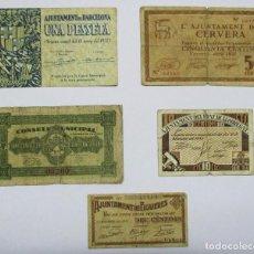 Billets locaux: 5 BILLETES LOCALES O DE PUEBLO DE LA GUERRA CIVIL ESPAÑOLA, TODOS DE CATALUÑA. LOTE 1292. Lote 186608777