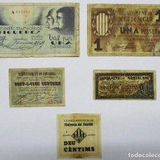 Billets locaux: 5 BILLETES LOCALES O DE PUEBLO DE LA GUERRA CIVIL ESPAÑOLA, TODOS DE CATALUÑA. LOTE 1293. Lote 186622017