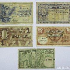 Billets locaux: 5 BILLETES LOCALES O DE PUEBLO DE LA GUERRA CIVIL ESPAÑOLA, TODOS DE CATALUÑA. LOTE 1294. Lote 186653153