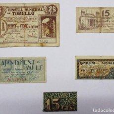 Billets locaux: 5 BILLETES LOCALES O DE PUEBLO DE LA GUERRA CIVIL ESPAÑOLA, TODOS DE CATALUÑA. LOTE 1298. Lote 187097347