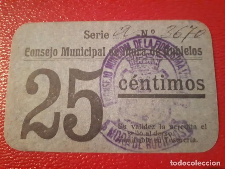 BILLETE DE MORA DE RUBIELOS - 25 CÉNTIMOS (Numismática - Notafilia - Billetes Locales)
