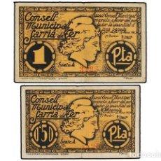 Billets locaux: BILLETES LOCALES GUERRA CIVIL: CATALUNYA, LOTE 2 BILLETES 0,50 Y 1 PESSETA, 15 MAIG 1937, C.M. DE SA. Lote 188631376