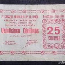 Billets locaux: BILLETE LOCAL MUY ESCASO GUERRA CIVIL LA UNION - MURCIA - 25 CENTIMOS 1937 CIRCULADO EN BUEN ESTADO. Lote 189227626