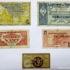 Billets locaux: 5 BILLETES LOCALES O DE PUEBLO DE LA GUERRA CIVIL ESPAÑOLA, TODOS DE CATALUÑA. LOTE 1318. Lote 190145237