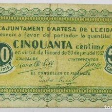 Billetes locales: ARTESA DE LLEIDA (LLEIDA). BILLETE LOCAL DE CINCUENTA CENTIMOS. 20 DE JUNIO DE 1937. LOTE 1323. Lote 190278441