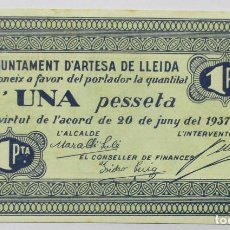 Billets locaux: ARTESA DE LLEIDA (LLEIDA). BILLETE LOCAL DE UNA PESETA. 20 DE JUNIO DE 1937. LOTE 1324. Lote 190279840