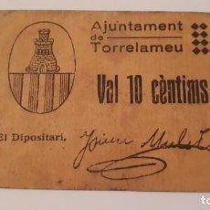 Billetes locales: BILLETE DE TORRELAMEU - 10 CÉNTIMOS . Lote 190300516