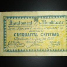 Billets locaux: BILLETE LOCAL 50 CÉNTIMOS MONTBLANC (TARRAGONA). Lote 190303880