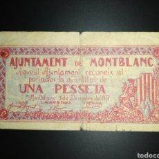 Billets locaux: BILLETE LOCAL 1 PESETA MONTBLANC (TARRAGONA). Lote 190396022