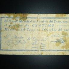 Billets locaux: BILLETE LOCAL 50 CÉNTIMOS MONTBRIO DEL CAMP (TARRAGONA). Lote 190483922
