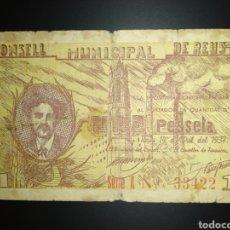 Billetes locales: BILLETE LOCAL 1 PESETA REUS (TARRAGONA). Lote 190487312