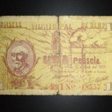 Billetes locales: BILLETE LOCAL 1 PESETA REUS (TARRAGONA). Lote 190487485
