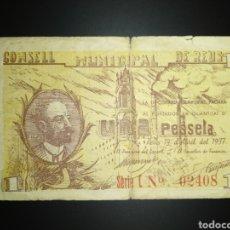 Billetes locales: BILLETE LOCAL 1 PESETA REUS (TARRAGONA). Lote 190487595