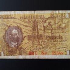 Billetes locales: BILLETE LOCAL 1 PESETA REUS (TARRAGONA). Lote 190508712