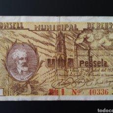 Billetes locales: BILLETE LOCAL 1 PESETA REUS(TARRAGONA). Lote 190509316