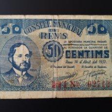 Billetes locales: BILLETE LOCAL 1 PESETA REUS (TARRAGONA). Lote 190509881