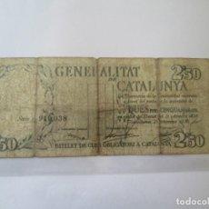 Billets locaux: BILLETE * 2,50 PESETAS GENERALITAT DE CATALUNYA 25 DE DICIEMBRE DE 1936. Lote 190560927