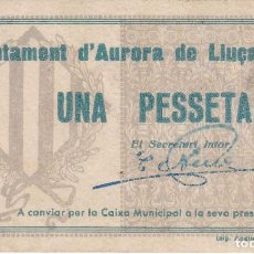 Banconote locali: BILLETE DE 1 PESETA DEL AJUNTAMENT DAURORA DE LLUÇANES DEL AÑO 1937. Lote 190796068