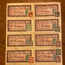 Billetes locales: BENIDORM ALICANTE GUERRA CIVIL CUPONES VALES CON SELLOS. Lote 192097596