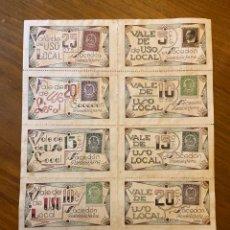 Billetes locales: SACEDON GUADALAJARA GUERRA CIVIL CUPONES VALES CON SELLOS. Lote 192097701