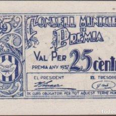 Billetes locales: BILLETES LOCALES - PREMIA - BARCELONA - 25 CENTIMS 1937 - T-2311A (SC). Lote 192457931