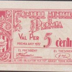Billetes locales: BILLETES LOCALES - PREMIA - BARCELONA - 5 CENTIMS 1937 - T-2311D (SC). Lote 192458021