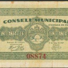 Billets locaux: 50 CÉNTIMOS ESPLUGA DE FRANCOLÍ. Lote 192460971