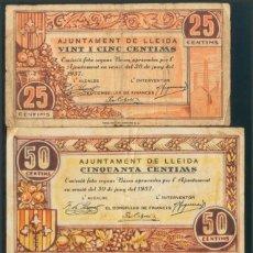 Billetes locales: LERIDA 25 CÉNTIMOS, 50 CÉNTIMOS Y 1 PESETAS 30 DE JUN BILLLETE GUERRA CIVIL. Lote 192492752